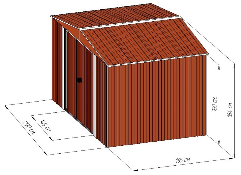 Металлический сарай Barnas 3х2
