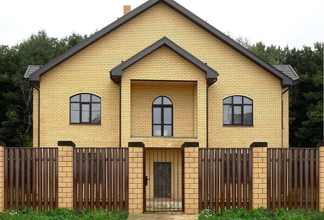 штакетник М-образный - коричневый забор и ворота